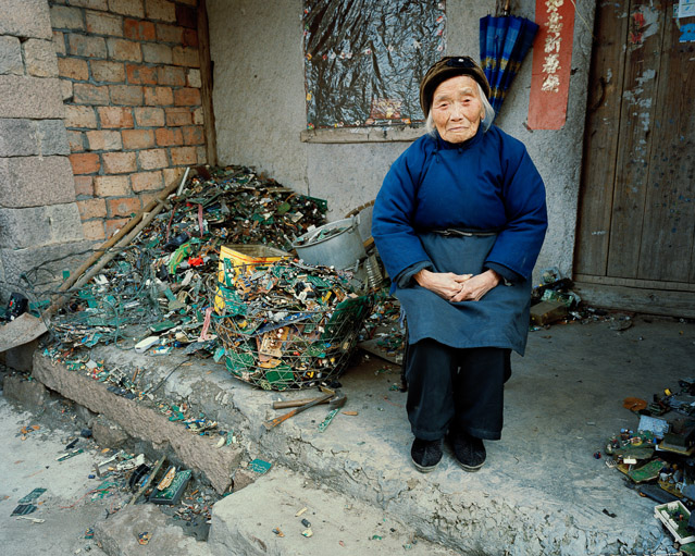 China Recycling #22 - Portrait of A Woman In Blue, Zeguo, Zhejiang Province, China, 2004