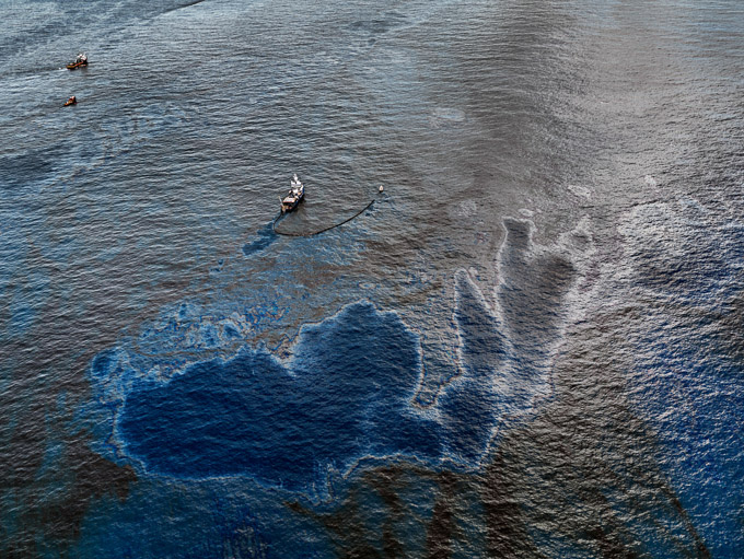 Oil Spill #4 - Oil Skimming Boat, Near Ground Zero, Gulf of Mexico, June 24, 2010