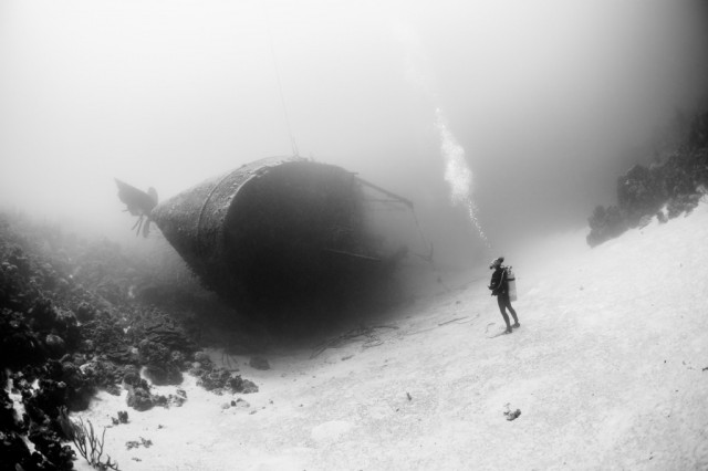 Hilma Hooker wreck in the Caribbean Sea in Bonaire, photo by Marc Henauer.