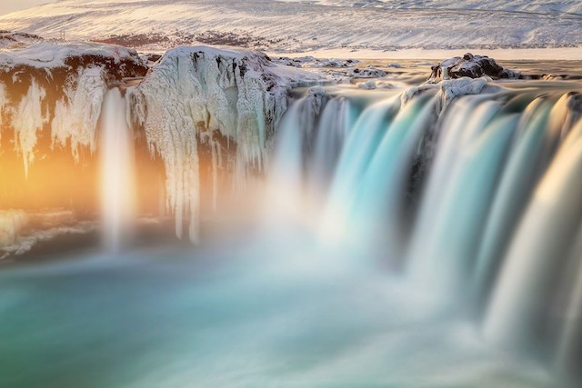 Last Light on Godafoss, Iceland. Photo and caption by Ed Graham.