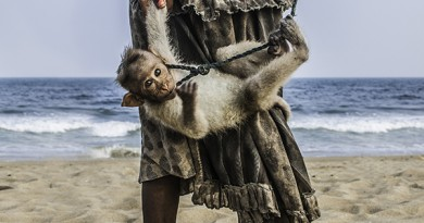 A Little beggar girl with her monkey on the Chennai beach.