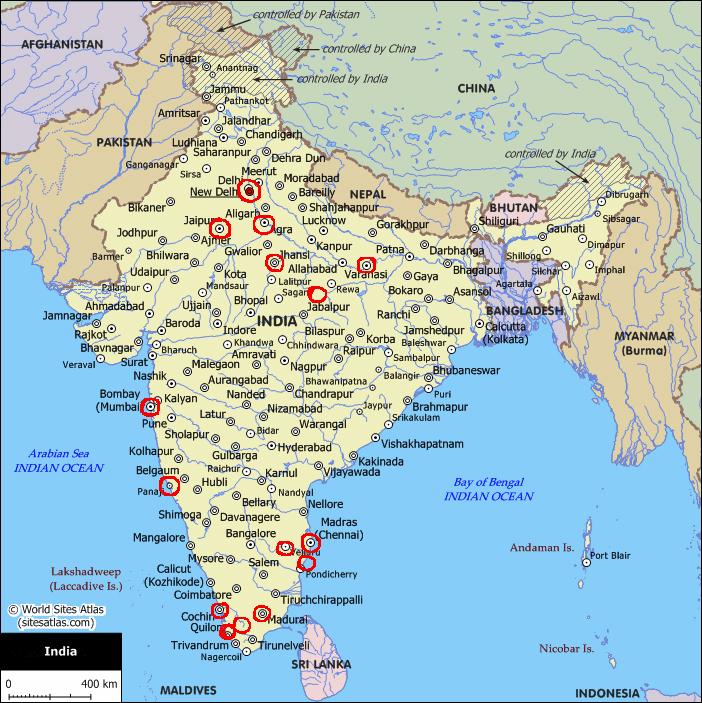 Mapa da Índia com localização das terras fotografadas pelo autor