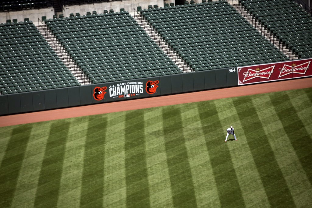 BALTIMORE 4/29/2015 The Baltimore Orioles played in an empty Camden Yards because of unrest after the death of Freddie Gray, who was fatally injured while in police custody. John Taggart/European Pressphoto Agency