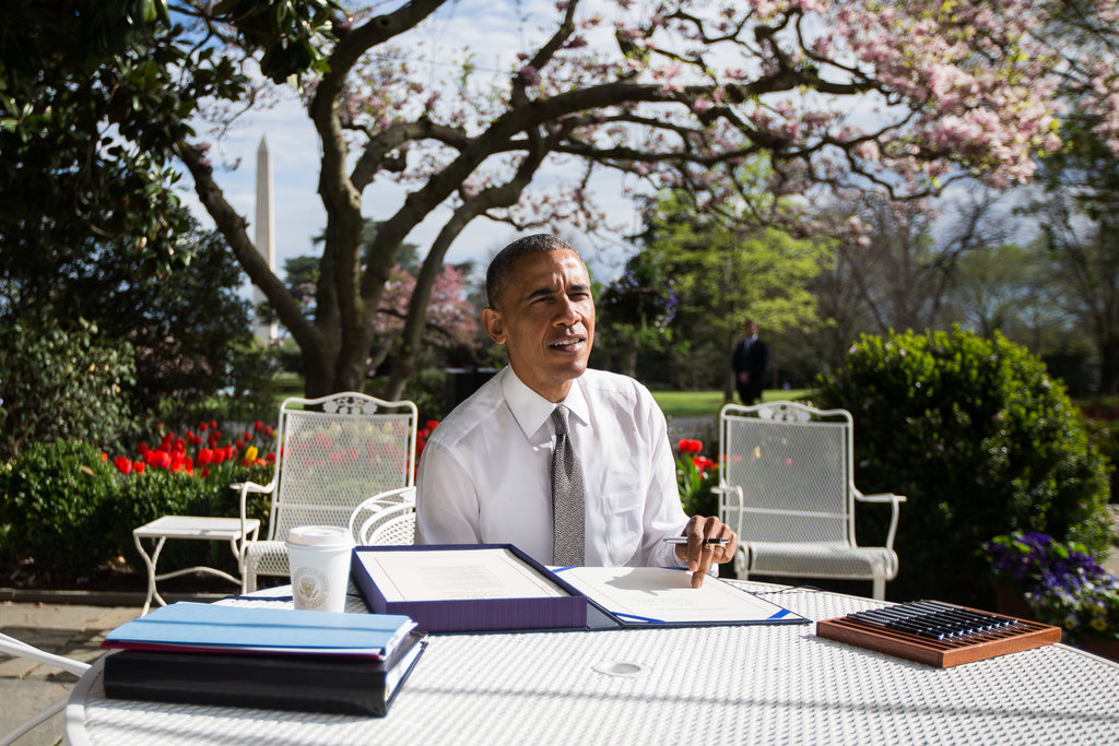 WASHINGTON 4/16/2015 President Obama, in the Rose Garden, signed the so-called doc-fix bill, which permanently ended automatic Medicare payment cuts to doctors. Zach Gibson/The New York Times