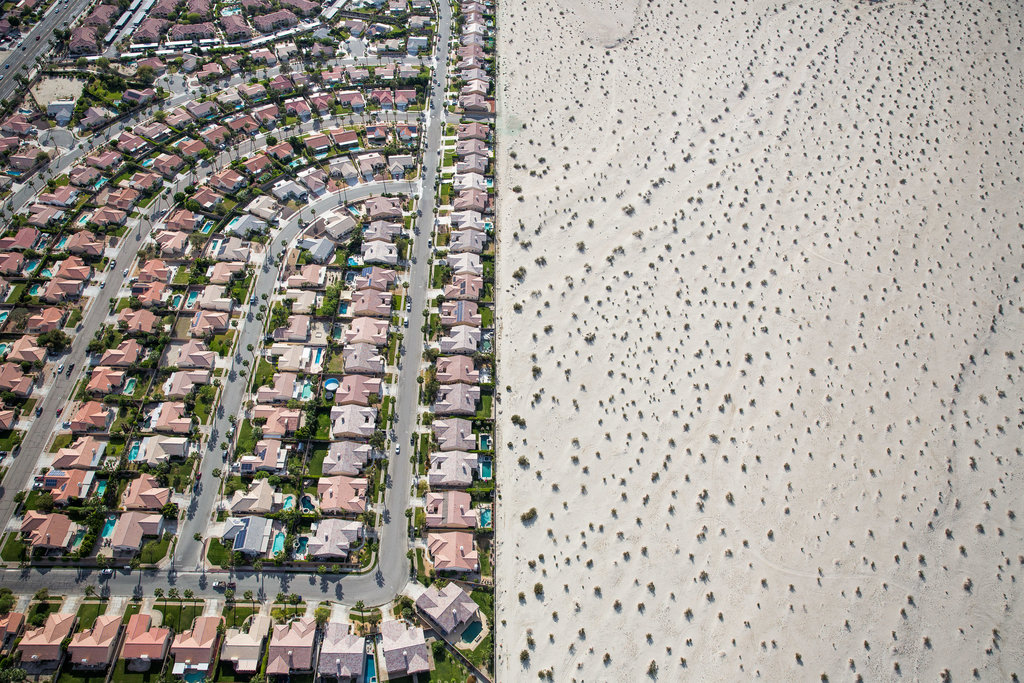 CATHEDRAL CITY, CALIF. 4/3/2015 In California, where lush developments like this one abut bone-dry desert,  the governor imposed mandatory water restrictions after a long drought. Damon Winter/The New York Times