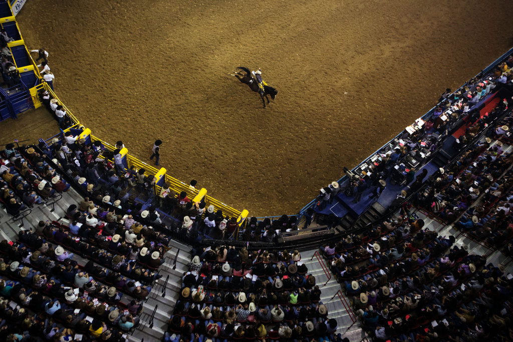 LAS VEGAS 12/9/2015 Bobby Mote, a bareback rider, competing at the National Finals Rodeo, the sport's premier event. Josh Haner/The New York Times