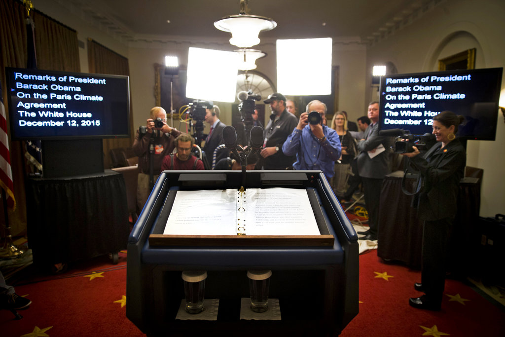 WASHINGTON 12/12/2015 The lectern in the Cabinet Room of the White House where President Obama announced a historic agreement among 195 nations to reduce greenhouse gas emissions. Doug Mills/The New York Times Share Tweet