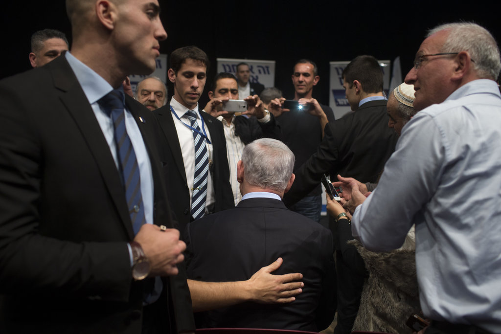 KIRYAT GAT, ISRAEL 2/5/2015 Prime Minister Benjamin Netanyahu of Israel paused for photographs while campaigning for re-election. Mr. Netanyahu won soundly in March. Uriel Sinai for The New York Times