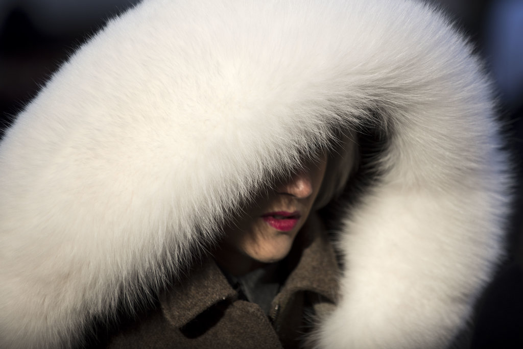 MANHATTAN 2/13/2015 With temperatures hovering in the teens, Linda Tol wore a Fendi coat with a fur hood as she attended a fashion week event at Lincoln Center.  Karsten Moran for The New York Times