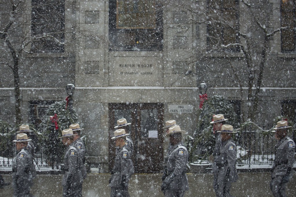 MANHATTAN 1/6/2015 State troopers assembled outside the Church of St. Ignatius Loyola before the funeral for former Gov. Mario M. Cuomo, who died at 82 on Jan. 1. Damon Winter/The New York Times