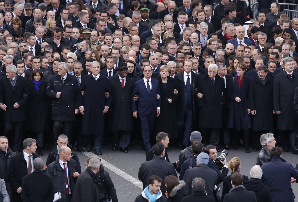 PARIS 1/11/2015 More than 40 world leaders marched in honor of the 17 victims of terrorist attacks on the satirical newspaper Charlie Hebdo and a Jewish supermarket. Julien Warnand/European Pressphoto Agency