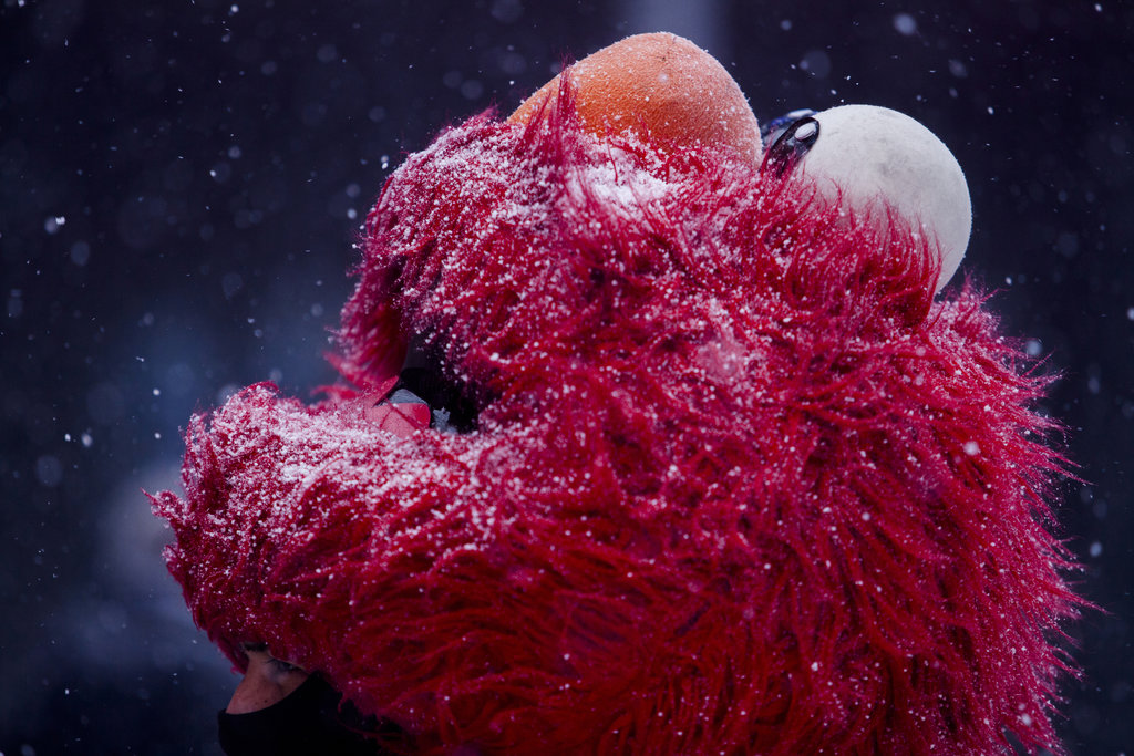MANHATTAN 1/26/2015 An Elmo character in Times Square braved a major snowstorm that swept through the Northeast. Boston was blanketed by 23 inches of snow. Sam Hodgson for The New York Times