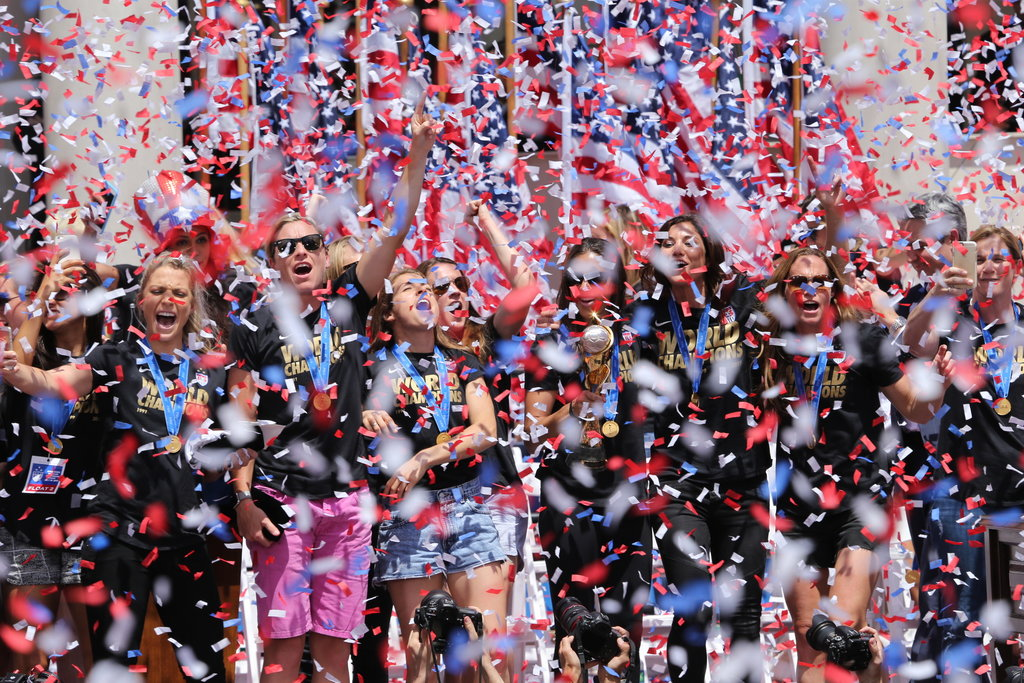 MANHATTAN 7/10/2015 The United States women's soccer team celebrated at a ticker-tape parade after winning the World Cup. Richard Perry/The New York Times