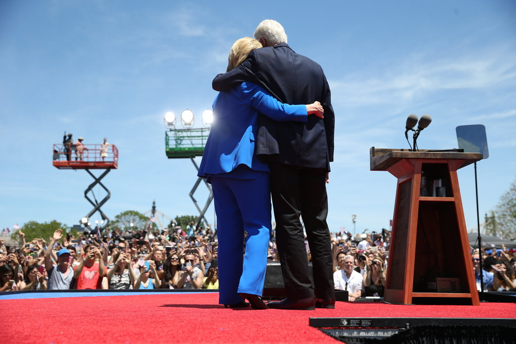 ROOSEVELT ISLAND, N.Y. 6/13/2015 Hillary Clinton was joined onstage by her husband, former President Bill Clinton, at a rally to kick off her presidential campaign. Doug Mills/The New York Times