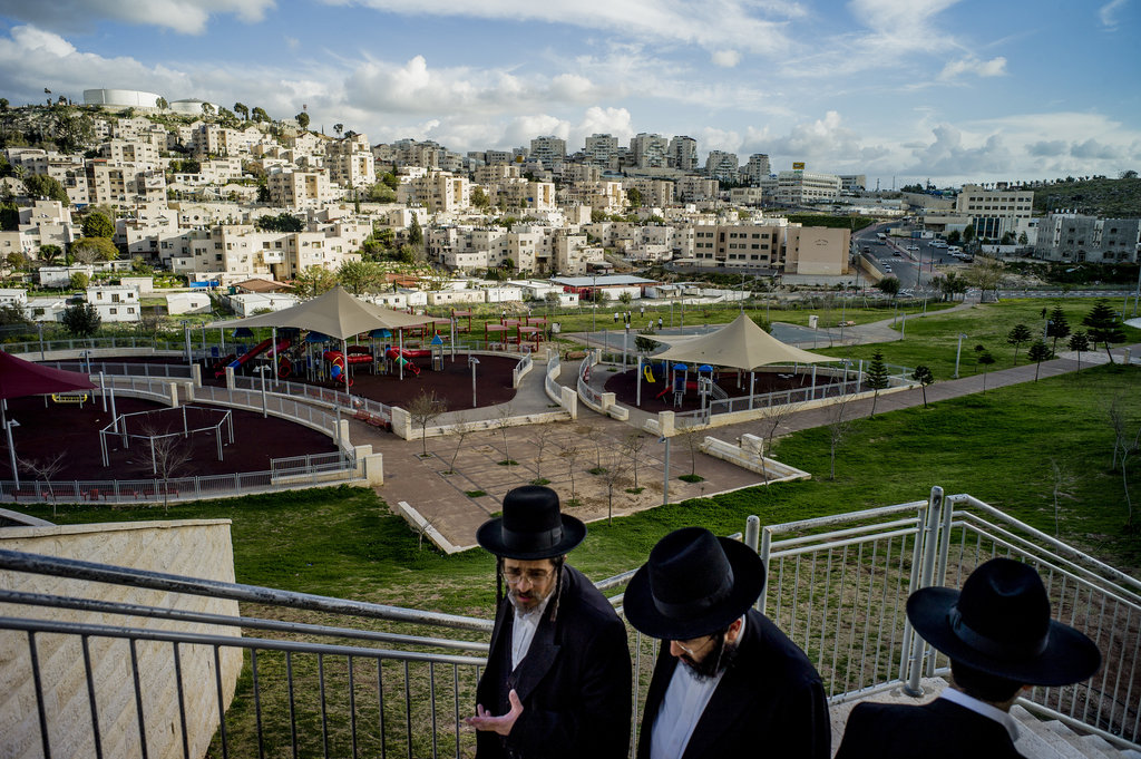 MODIIN ILLIT, WEST BANK 3/2/2015 Ultra-Orthodox Jewish men at the biggest and fastest-growing settlement in the West Bank. Tomas Munita for The New York Times