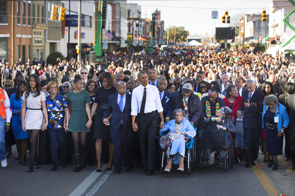 SELMA, ALA. 3/7/2015 President Obama marched with thousands across the Edmund Pettus Bridge on the 50th anniversary of the Voting Rights Act of 1965. Doug Mills/The New York Times