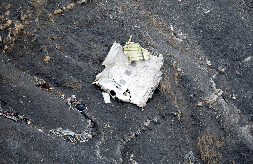 FRENCH ALPS 3/25/2015  Wreckage from a German jetliner that crashed and killed all 150 people on board. A co-pilot, Andreas Lubitz, was believed to have deliberately caused the crash. Fabrice Balsamo/Gendarmerie Nationale via The New York Times