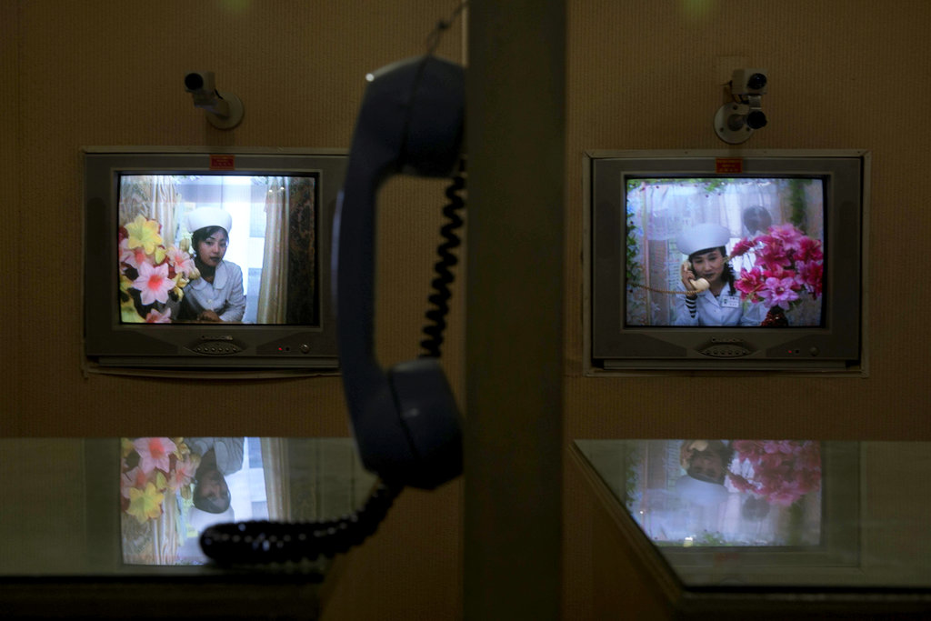 PYONGYANG, NORTH KOREA 5/19/2015 A videoconference booth at a maternity hospital lets visitors speak with mothers and see their newborn babies. David Guttenfelder for The New York Times Share Tweet