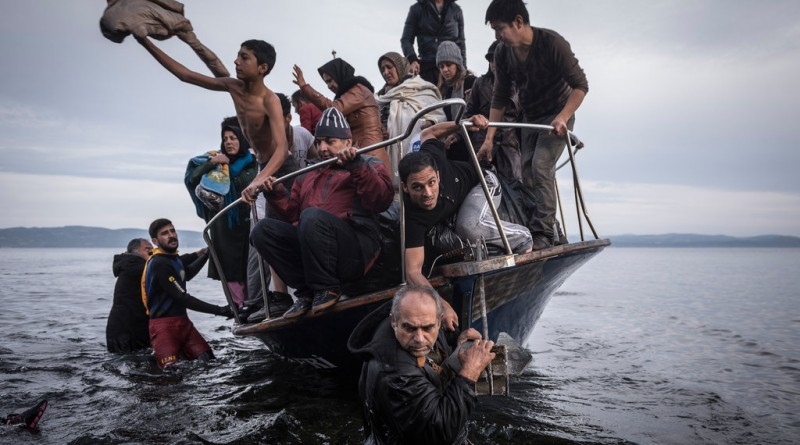 LESBOS, GREECE 11/16/2015 Migrants arriving in Greece on a Turkish boat, whose owner was later arrested in Turkish waters.  Sergey Ponomarev for The New York Times
